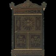 """Victorian Biedermeier dolls house miniature coat cupboard or wardrobe 6 1/4"""""""