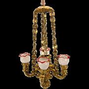 Antique ormolu gilt metal doll house Chandelier 4 branch