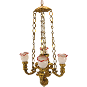 Antique ormolu gilt metal doll house Chandelier 4 branch