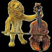 Antique Austrian miniature painted bronze Lion playing Cello