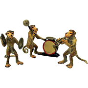 Antique 3 piece Austrian cold painted Monkey or Baboon Musician band miniatures