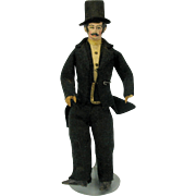 19th Century paper mache Man with top hat doll Carriage driver