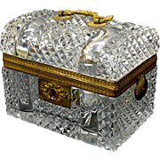Vintage French cut glass & bronze casket in dome top trunk form!