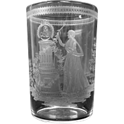Rare 1800's engraved water glass with a mourning scene Woman at Tomb with flowers