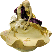 Art Nouveau Royal Dux Bohemia porcelain centerpiece Woman with Doves