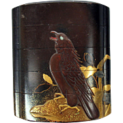 Fine antique Japanese Meiji lacquer 5 section INRO with Eagle