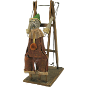 Early dressed MONKEY acrobat on ladder mechanical toy