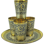 Vintage 5 piece Russian silver gilt Niello tea set-4 cups shot glasses on a tray