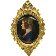 Fine hand painted porcelain portrait plaque Woman wearing a SNOOD
