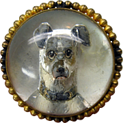 Large Victorian GREYHOUND dog crystal brooch pin