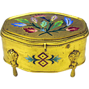 Antique French enamel and ormolu gilt metal dresser box