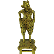 Vintage gilded bronze figure French Harlequin Pierrot clown on a stool