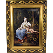 Superb KPM porcelain portrait plaque Woman with Cherub
