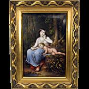 Superb KPM porcelain portrait plaque Woman with Cherub