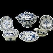 Vintage Child's or dolls Flow blue Onion pattern dinner set partial