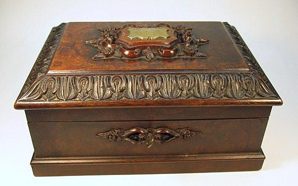 BEST American Victorian carved wood jewelry casket