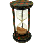 "Huge Antique McPherson Tartanware hourglass timer 6 1/2"" by 3 1/2"" Tartan ware"