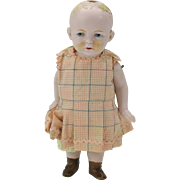 "Vintage German 7"" pink tint all bisque doll-needs a wig"