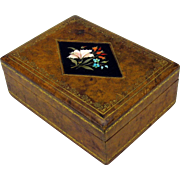 Antique Pietra Dura stone inlaid desk top cigar box