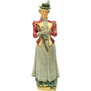Victorian figural majolica bottle Edwardian Lady with umbrella