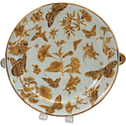 18th Century Chinese porcelain food warmer dish brown & gold butterfly decoration