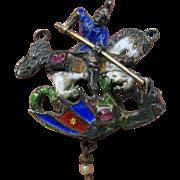 Antique Jeweled Austro Hungarian jeweled silver enamel pendant St. George & Dragon