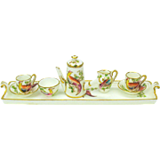 Vintage Crown Staffordshire miniature Hot Chocolate set on tray with birds
