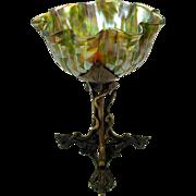Vintage Art Glass and bronze Art Nouveau table centerpiece