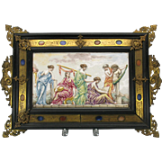 Grand Tour huge Capodimonte porcelain plaque in specimen marble frame
