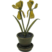 Antique cold painted Vienna bronze flowerpot menu place card holder yellow Iris