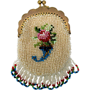 Antique miniature bead work purse for doll