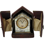 Antique miniature mother of pearl house shaped Swiss carriage clock AS IS
