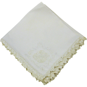 9 Vintage white hand made lace on linen table napkins