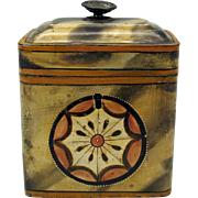 Early trompe l'oeil paint decorated toleware tea caddy