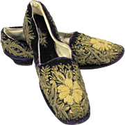 Best 19th Century purple Ladies shoes with heels and gold embroidery