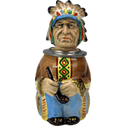 Vintage figural pottery Beer Stein Native American Indian Chief
