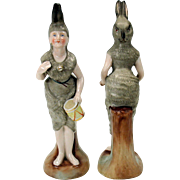 Victorian Ladies dressed as RABBITS pair porcelain figures