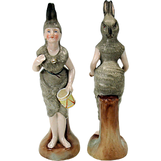 Victorian Ladies dressed as RABBITS pair porcelain figures