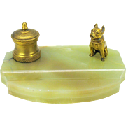 Vintage gilded bronze & marble French Bulldog inkwell