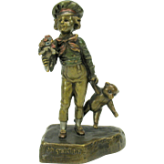 Rare vintage Austrian bronze figure Boy with TEDDY BEAR