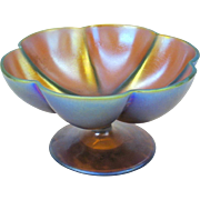 Vintage Iridescent Art Glass pedestal foot bowl signed F. Carder