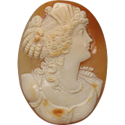 Large vintage unset carved shell cameo