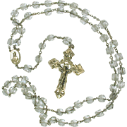 BEST vintage crystal and sterling silver Rosary beads in Whiting & Davis pouch