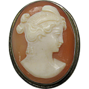 Vintage signed shell cameo pendant brooch in sterling silver