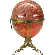 "Massive 14"" tall Moser enameled cranberry glass egg casket with bronze base 14"" by 8"""