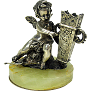 19th Century 800 silver Cherub toothpick holder or posy holder on marble base