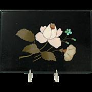Antique inlaid Pietra Dura stone paperweight plaque