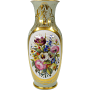 Gorgeous Old Paris porcelain Botanical vase with hand painted floral vignette