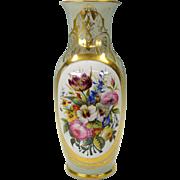 Gorgeous Old Paris porcelain Botanical vase with hand painted floral vignette