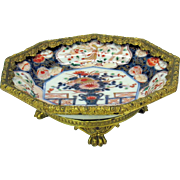 Grand Tour gilt bronze mounted Japanese Imari porcelain plate compote or tazza